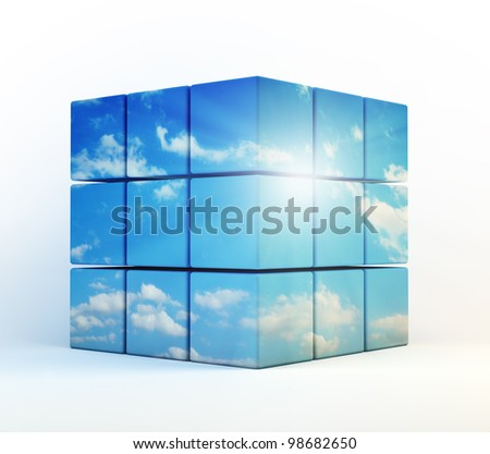 3D cubes with a cloudy sky