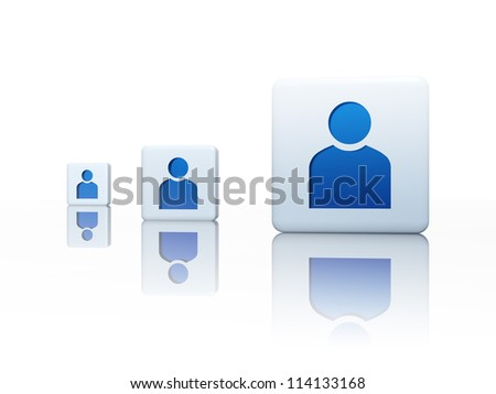 3d cubes with blue person sign - three boxes - stock photo