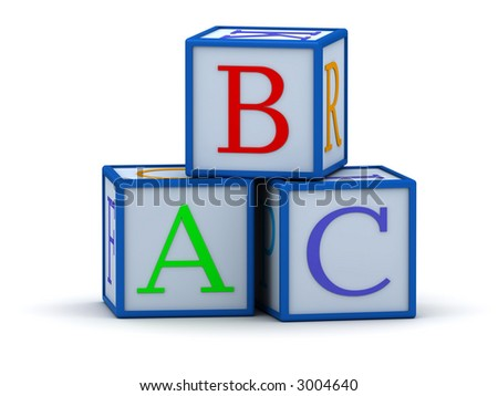3D cubes with letters ABC (The image can be used as background for printing and web)