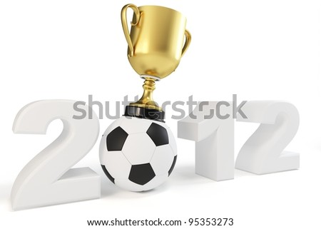 3d cup 2012 with a soccer ball concept
