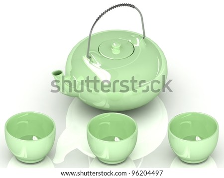 3d cups and teapot isolated on a white background
