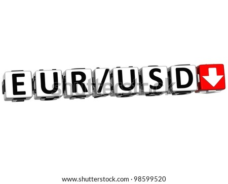 3D Currency euro dollar rate concept symbol button on white background