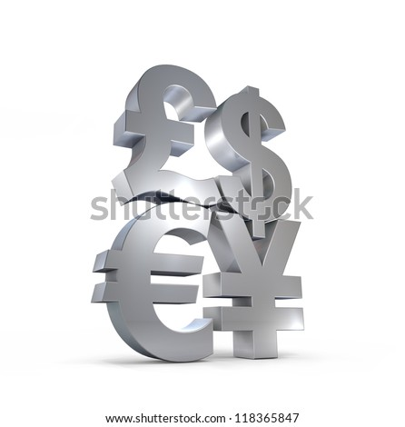 3D currency symbols illustration, silvery metallic texture.
