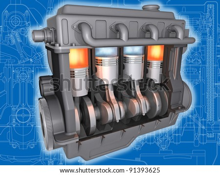 3D cut of  working car motor on the engineering drawing. Image with clipping path.