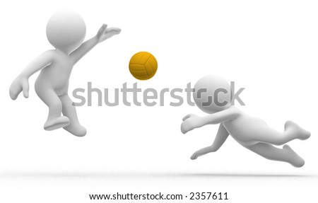 3d cute abstract humanoids play volley ball