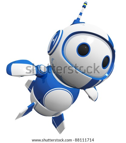 3d cute blue robot flying up like a hero.