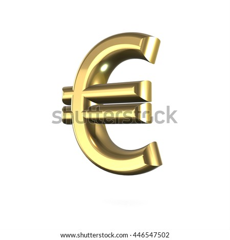 3d Cute Gold Metal Euro Sign With Cartoon Comic And Business Numbers