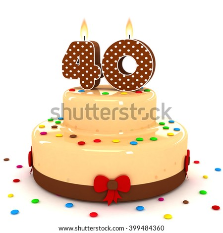3d Cute Number 40 Fourty Rendering Colorful With Chocolate Birthday Cake Sweet Polka Dot