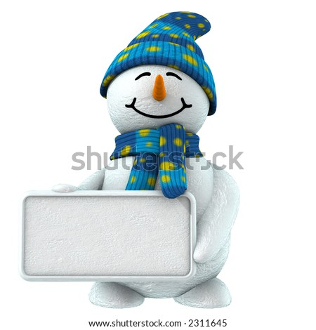 3d cute snowman that keep blank sign to put your word or logo