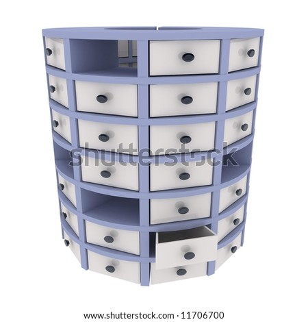 3d cylindrical chest of drawers, over white
