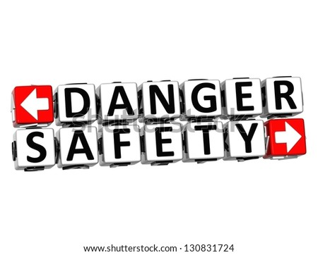 3D Danger Safety Button Click Here Block Text over white background