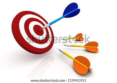 3D Darts and Target, Isolated on White, Success Concept