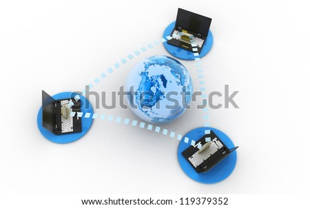 3d Data transfer isolated on white background