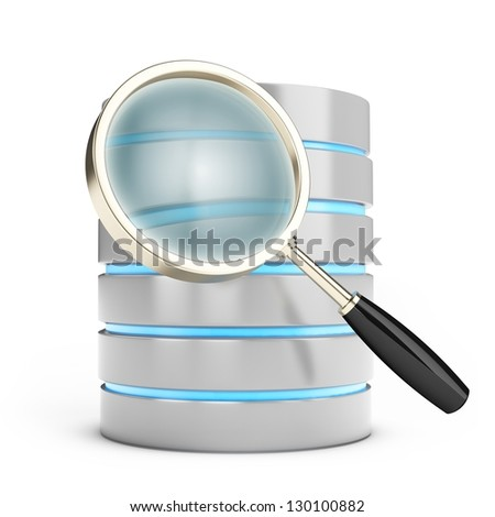 3d database searching with magnifying glass on white background