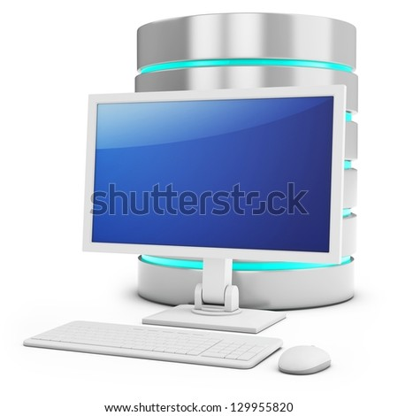 3d database with access terminal on white background
