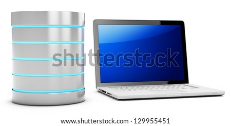 3d database with mobile laptop on white background