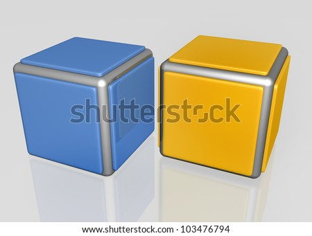 3d design elements of one blue and one yellow cubes with metal frame