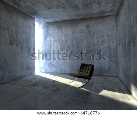 3d designers chair in concrete interior