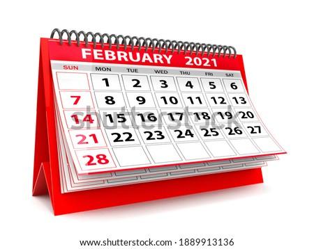 3D desktop Calendar February 2021 isolated in white background, February 2021 Spiral Calendar