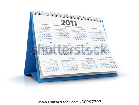 3D desktop calendar 2011 in white background