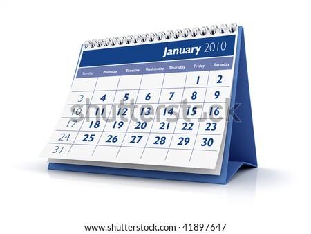 3D desktop calendar January 2010 in white background