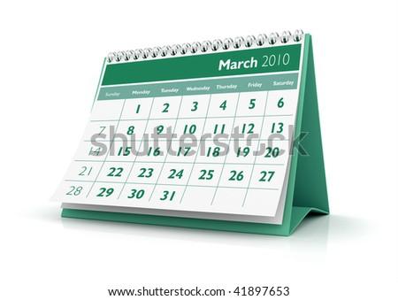 3D desktop calendar March 2010 in white background