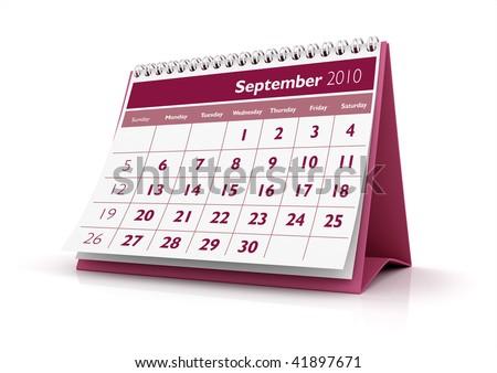 3D desktop calendar September 2010 in white background