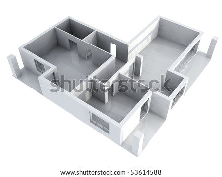 3D detailed illustration of a new apartament interior - stock photo