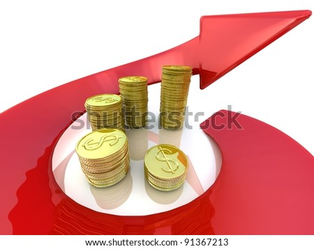 3d diagram of golden coins with a arrow around on a white background