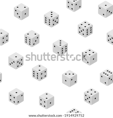 3d Dice Combinations Cube Variation Random Seamless Pattern Background on a White Isometric View Gaming Game . illustration of Combination Bone ストックフォト ©