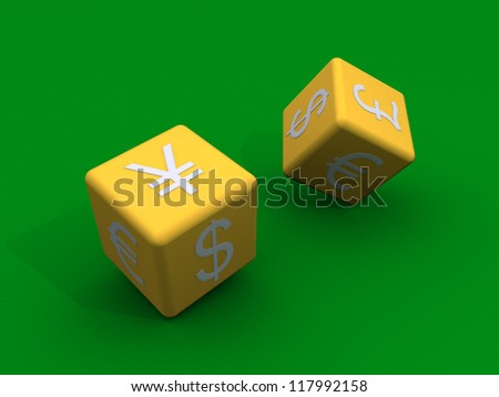 3d dice with currency symbols are tossed