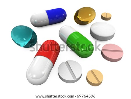 3d different tablets and pills on a white background