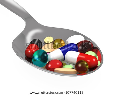 3d different tablets and pills on spoon on white background - stock photo