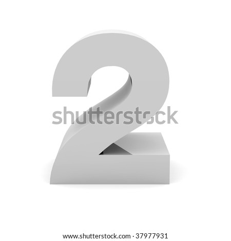 3d digit 2 - stock photo
