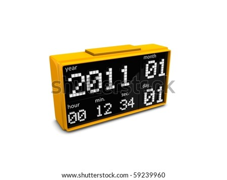 3d digital clock, 2011 new year. Isolated over white background