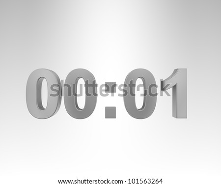 3D digital clock on the gray background