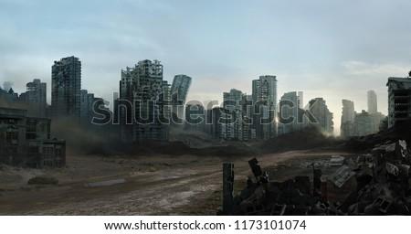 2d digital illustration of a destroyed city.