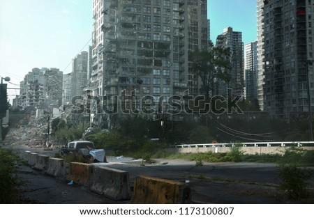 2d digital illustration of a destroyed city with plants overgrowing throughout the scene. This is a world of the future, abandoned and forgotten.