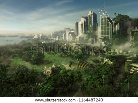 2d digital illustration of a futuristic cityscape overgrown with lush trees.