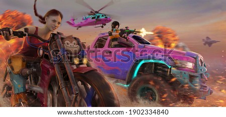 3d digital illustration of a group of characters on vehicles.