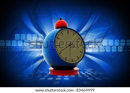 3d  Digital illustration of alarm clock - stock photo