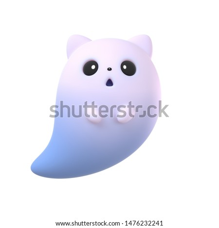 3d digital illustration of cute cartoon ghost cat isolated on white background. Flying cute Halloween ghost character with cat ears and big eyes. Halloween ghost game icon. Happy Halloween holiday.
