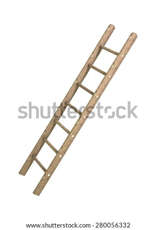 3D digital render of a wooden step ladder isolated on white background stock photo