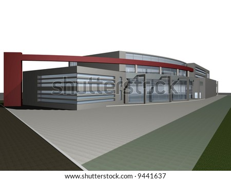 3d digital render of modern business center building over white background - stock photo