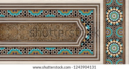 3D Digital Wall Tile Decor For Home, Royal Wall Tile Decor With Wooden Frame  For interior Home, or window Design, 3D illustration. wallpaper, linoleum, textile, web page background.