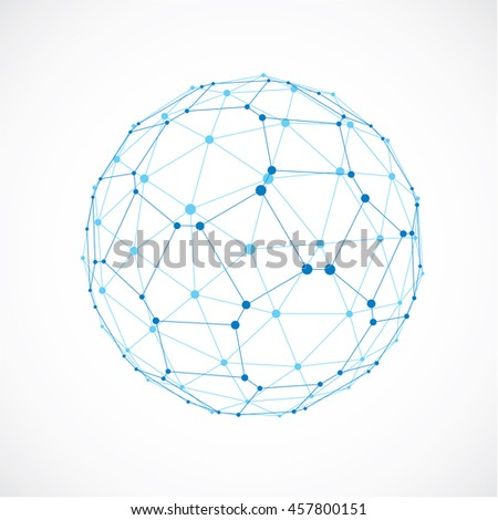 3d digital wireframe spherical object made using facets. Geometric polygonal blue ball created with lines mesh and pentagons. Low poly shape, lattice form for use in web design.