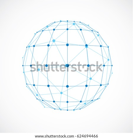 3d digital wireframe spherical object made using facets. Geometric polygonal blue ball created with lines mesh and triangles. Low poly shape, lattice form for use in web design.
