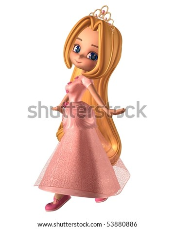 3d Digitally rendered illustration of a pretty toon fairytale princess, dressed in pink with a gold tiara