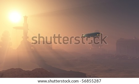 3d Digitally rendered illustration of a space shuttle landing in a duststorm at a Martian outpost