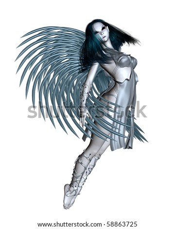 3d Digitally rendered illustration of an alien angel with silver wings - 1